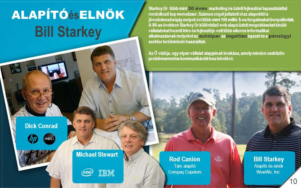Bill Starkey ALAPÍTÓésELNÖK 10 Dick Conrad Michael Stewart Rod Canion