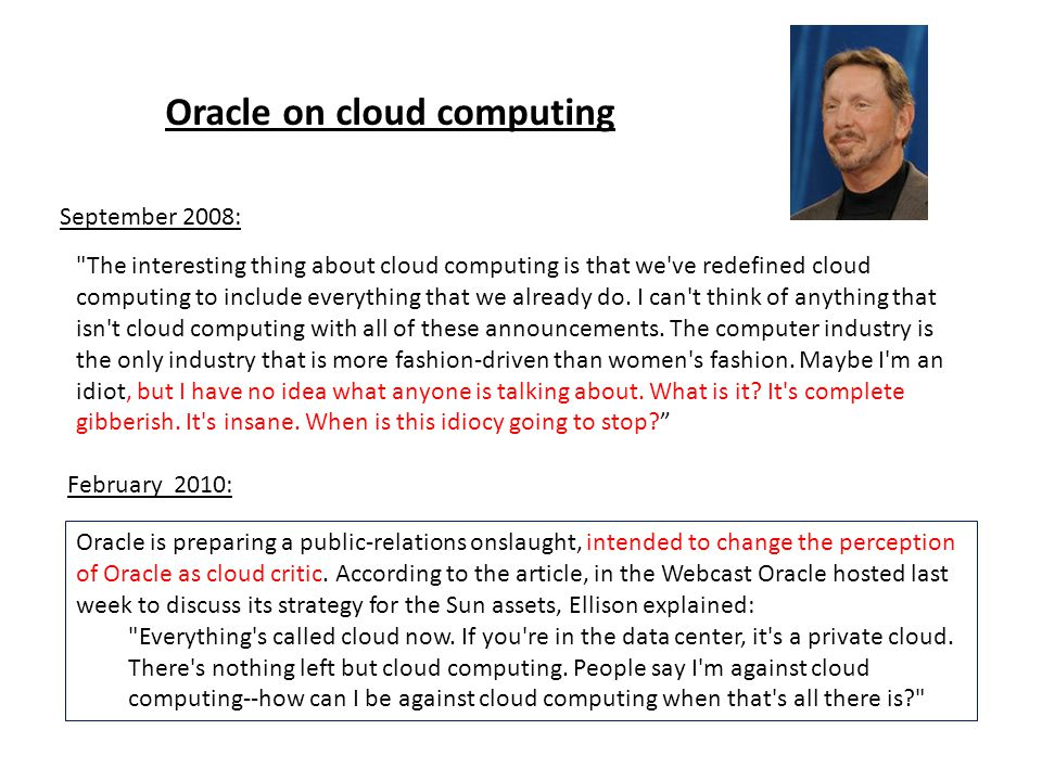 Oracle on cloud computing