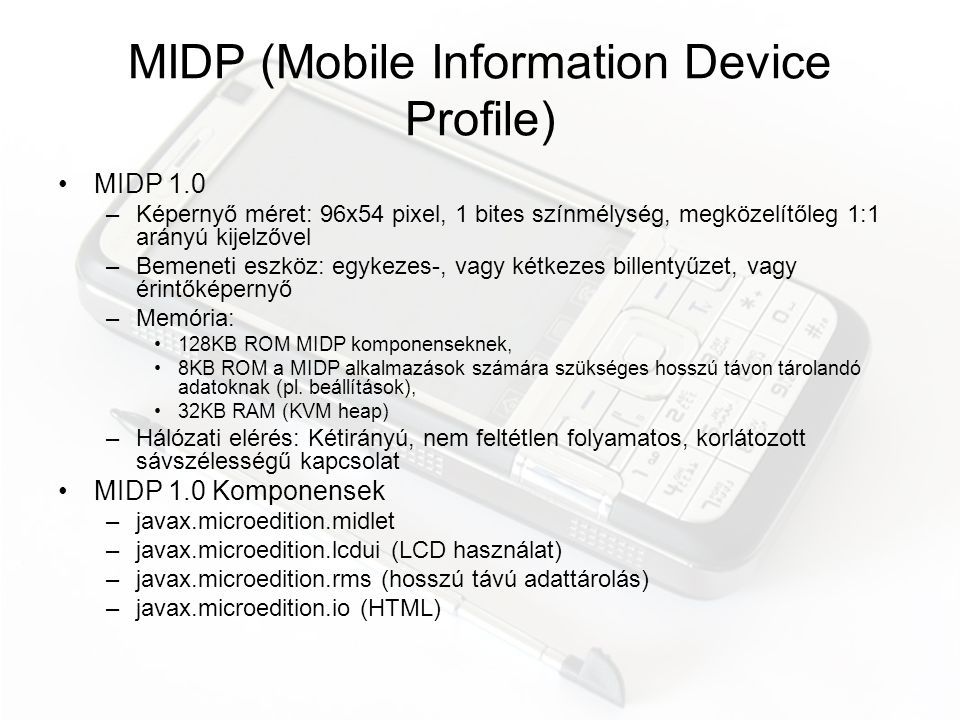 MIDP (Mobile Information Device Profile)
