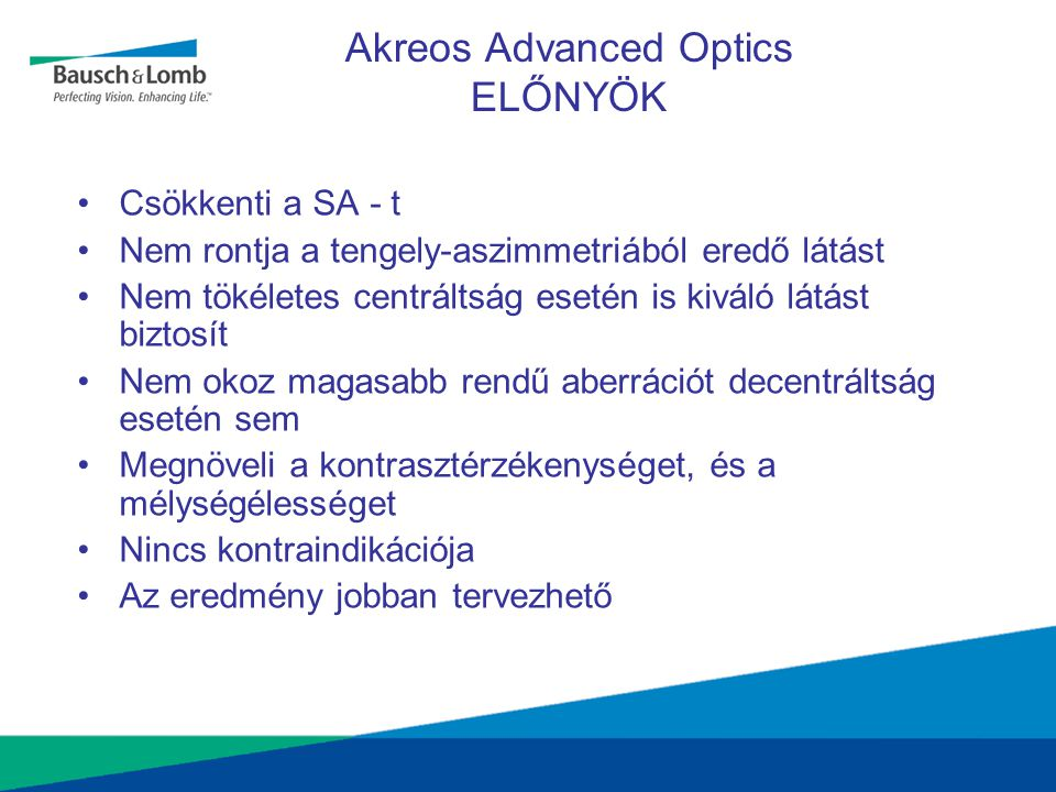 Akreos Advanced Optics ELŐNYÖK