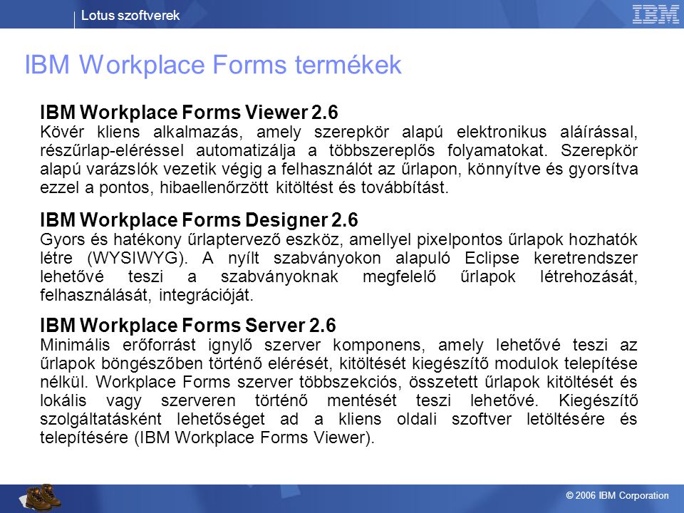 IBM Workplace Forms termékek