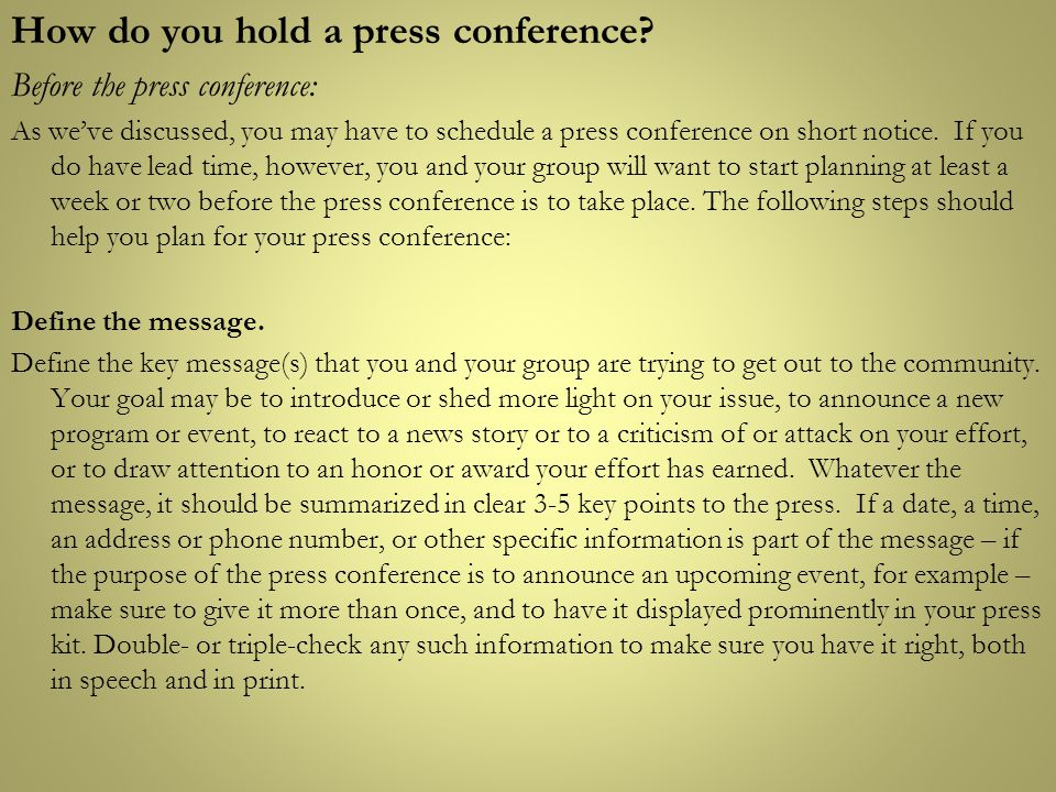 How do you hold a press conference