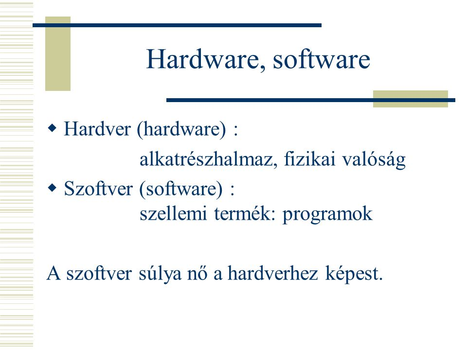 Hardware, software Hardver (hardware) :