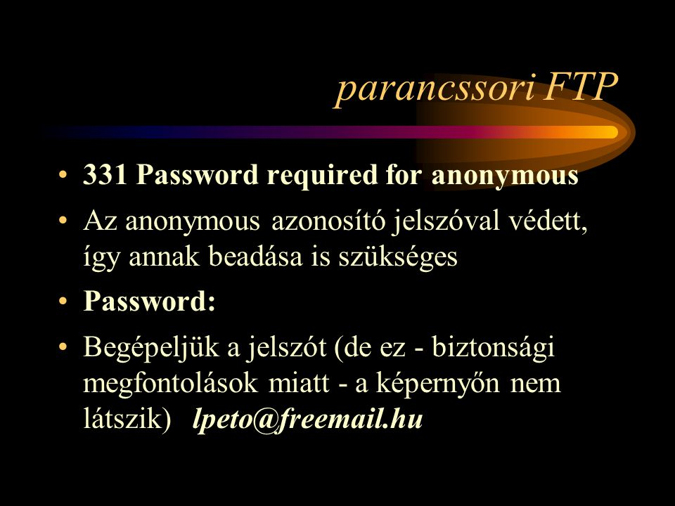 parancssori FTP 331 Password required for anonymous