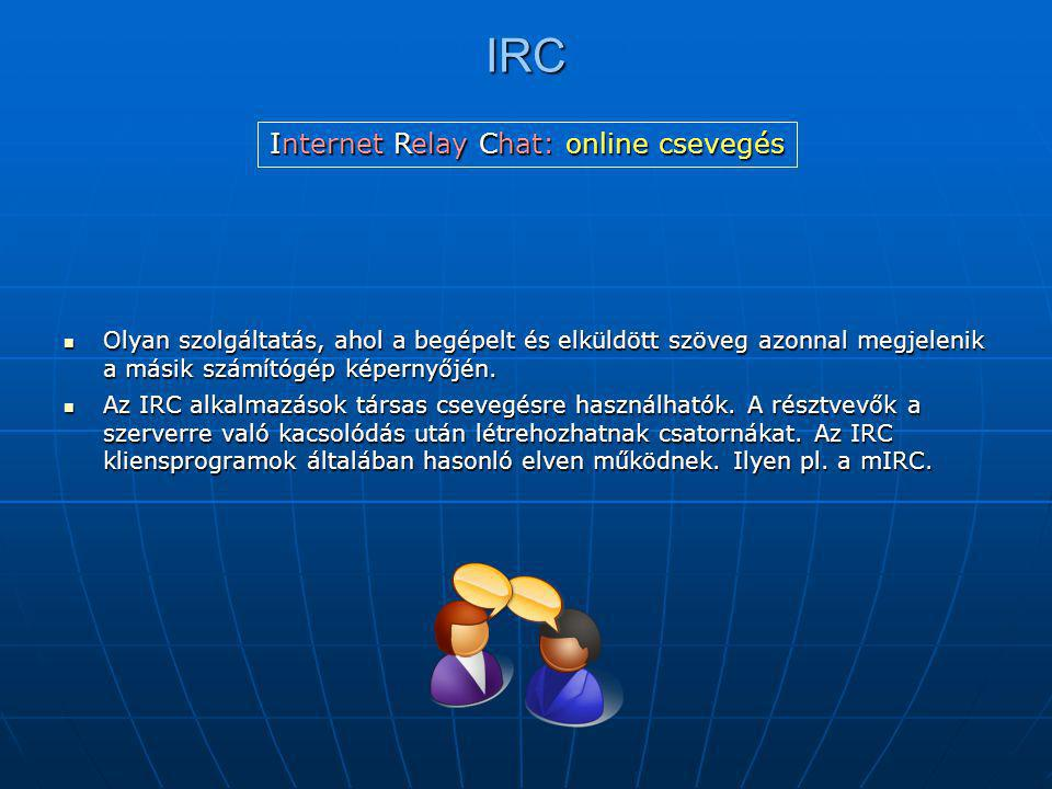 Internet Relay Chat: online csevegés