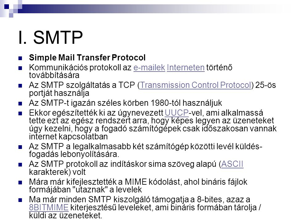 I. SMTP Simple Mail Transfer Protocol