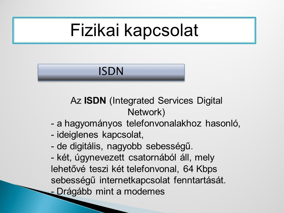 Az ISDN (Integrated Services Digital Network)