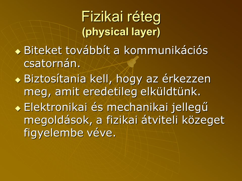 Fizikai réteg (physical layer)