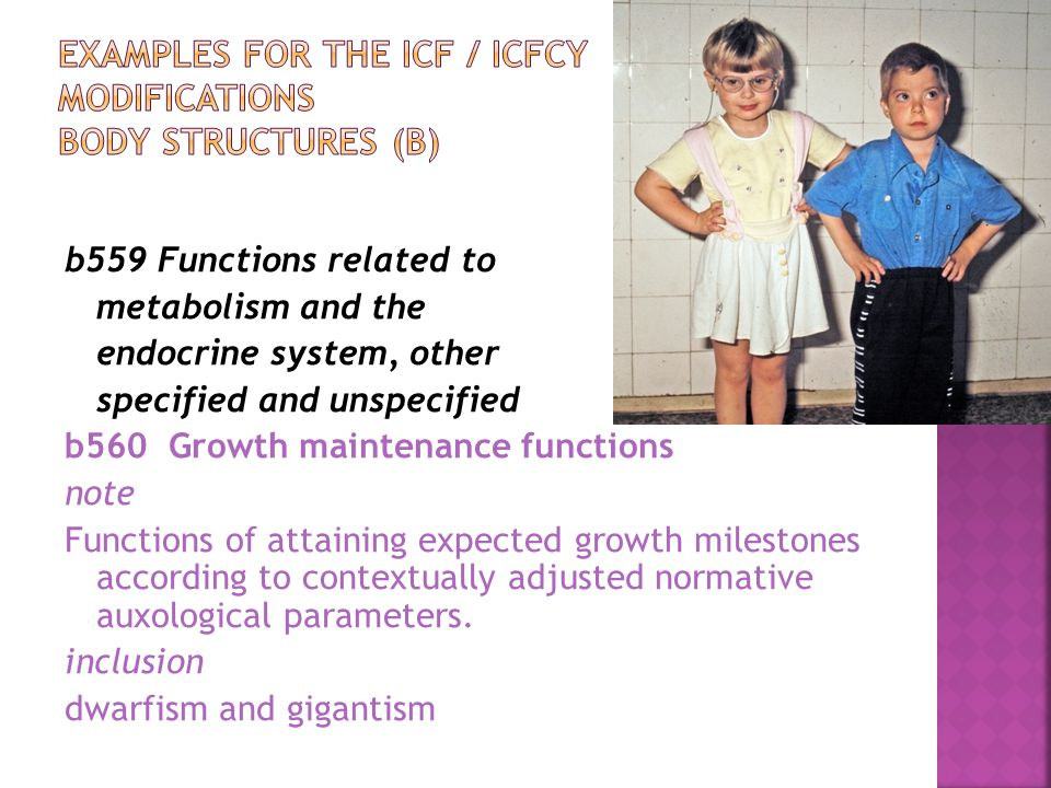 Examples for the ICF / ICFCY modifications Body structures (b)