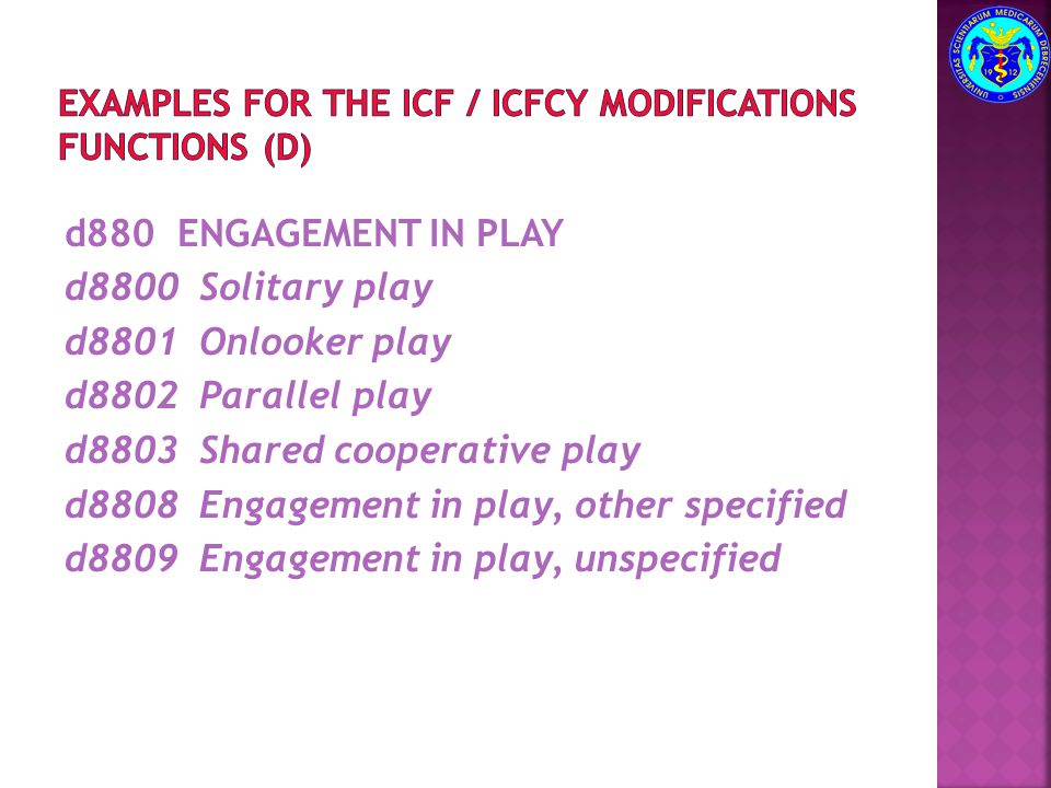 Examples for the ICF / ICFCY modifications functions (d)