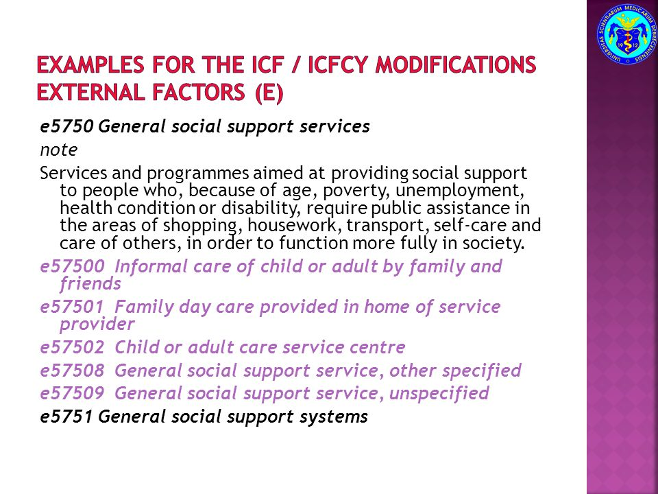 Examples for the ICF / ICFCY modifications external factors (e)