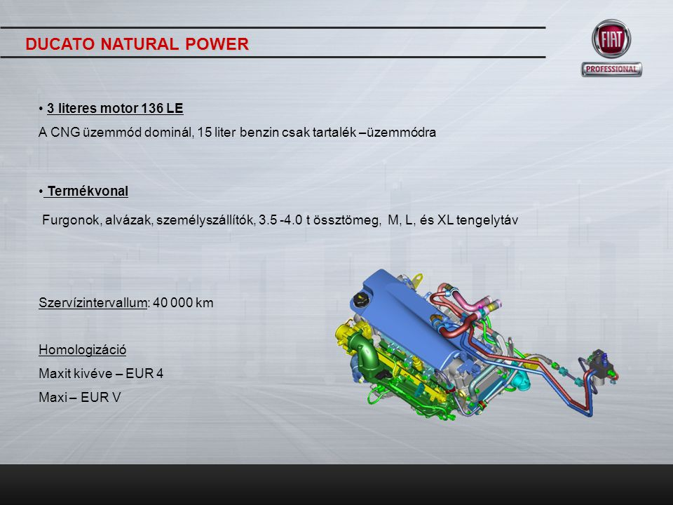 DUCATO NATURAL POWER 3 literes motor 136 LE