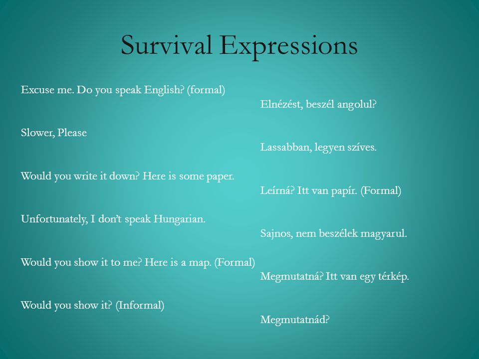 Survival Expressions Excuse me. Do you speak English (formal)