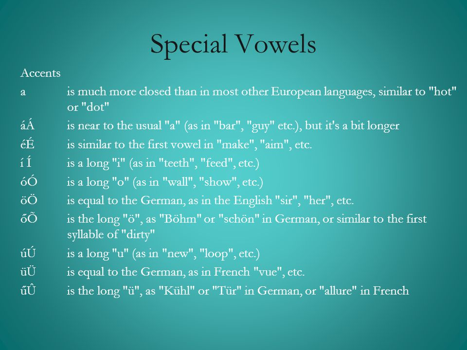 Special Vowels Accents