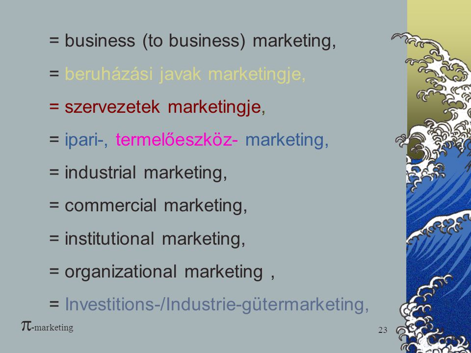 -marketing = business (to business) marketing,