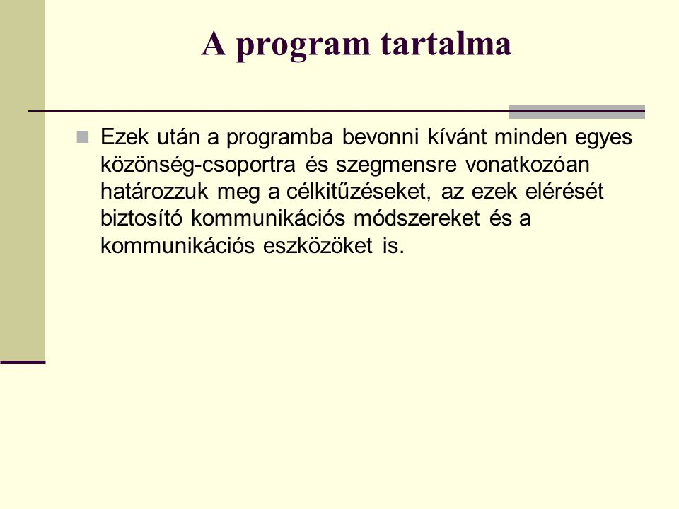 A program tartalma