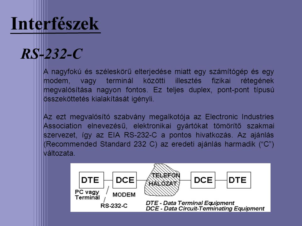 Interfészek RS-232-C.