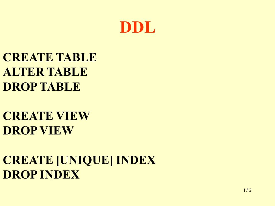 DDL CREATE TABLE ALTER TABLE DROP TABLE CREATE VIEW DROP VIEW