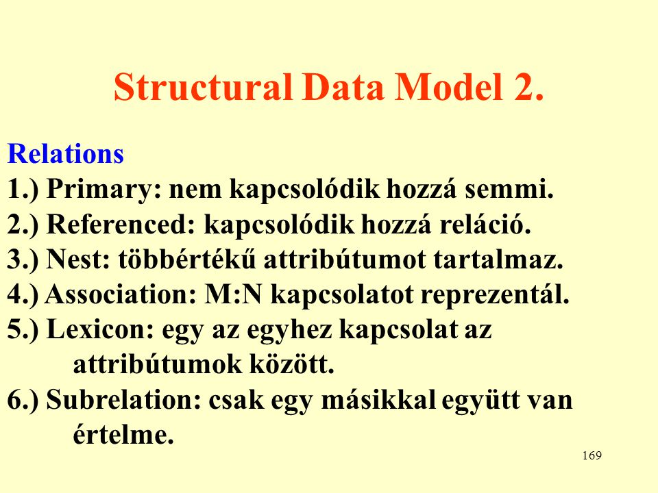 Structural Data Model 2. Relations