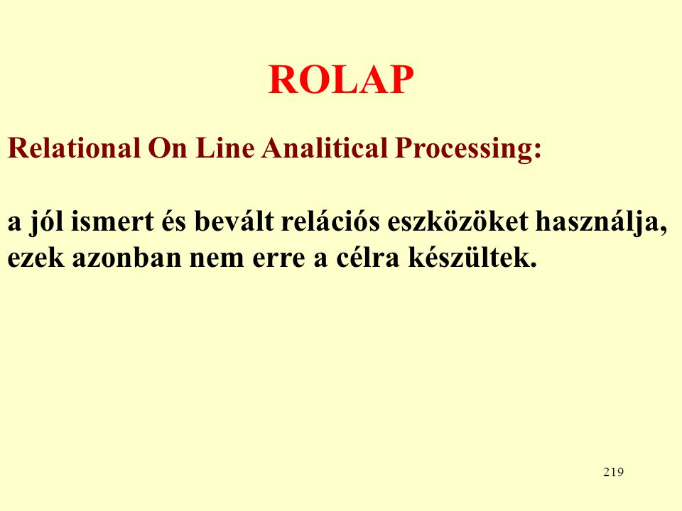 ROLAP Relational On Line Analitical Processing:
