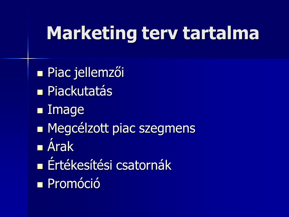 Marketing terv tartalma