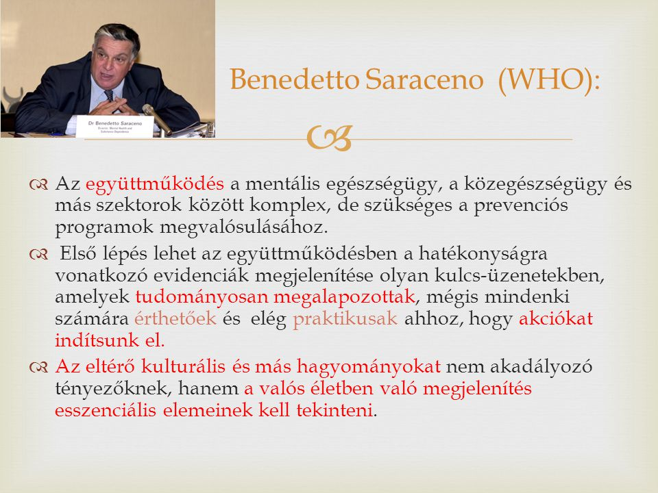 Benedetto Saraceno (WHO):