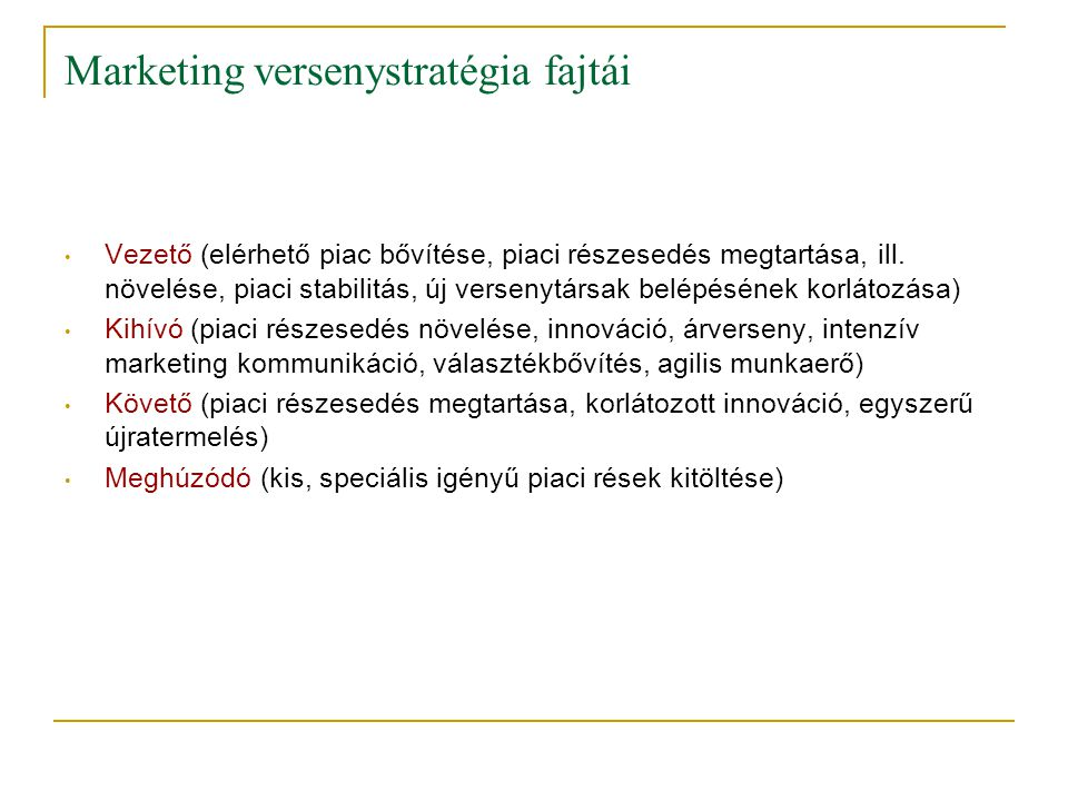Marketing versenystratégia fajtái