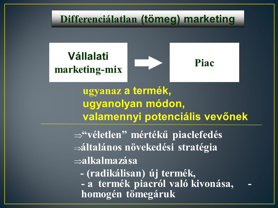 Differenciálatlan (tömeg) marketing Vállalati marketing-mix