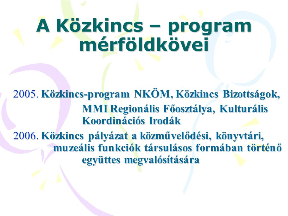 A Közkincs – program mérföldkövei