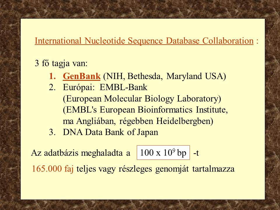 International Nucleotide Sequence Database Collaboration :
