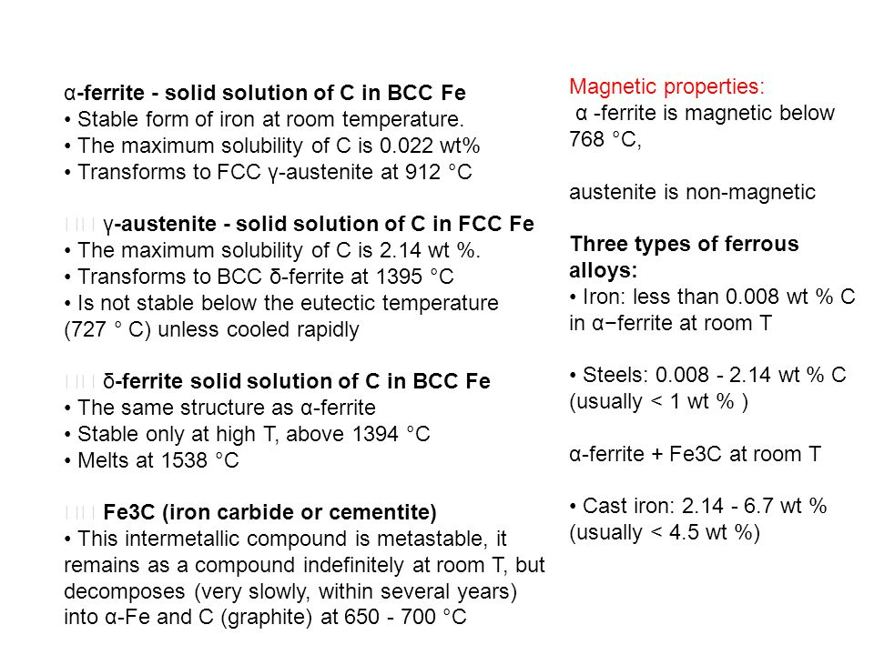 Magnetic properties: α -ferrite is magnetic below 768 °C, austenite is non-magnetic. Three types of ferrous alloys: