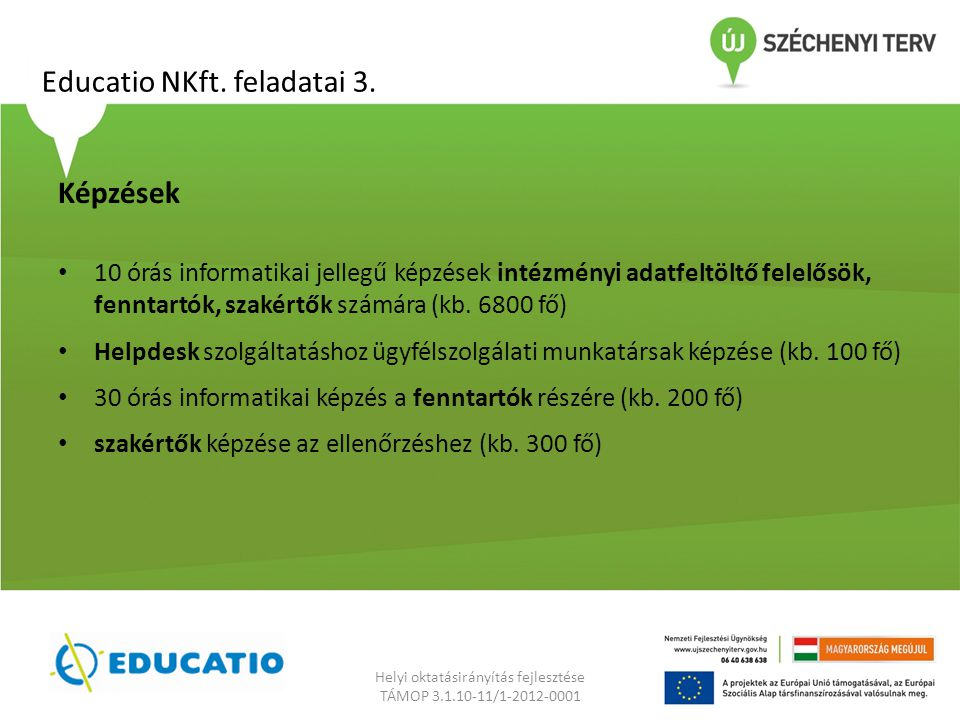Educatio NKft. feladatai 3.