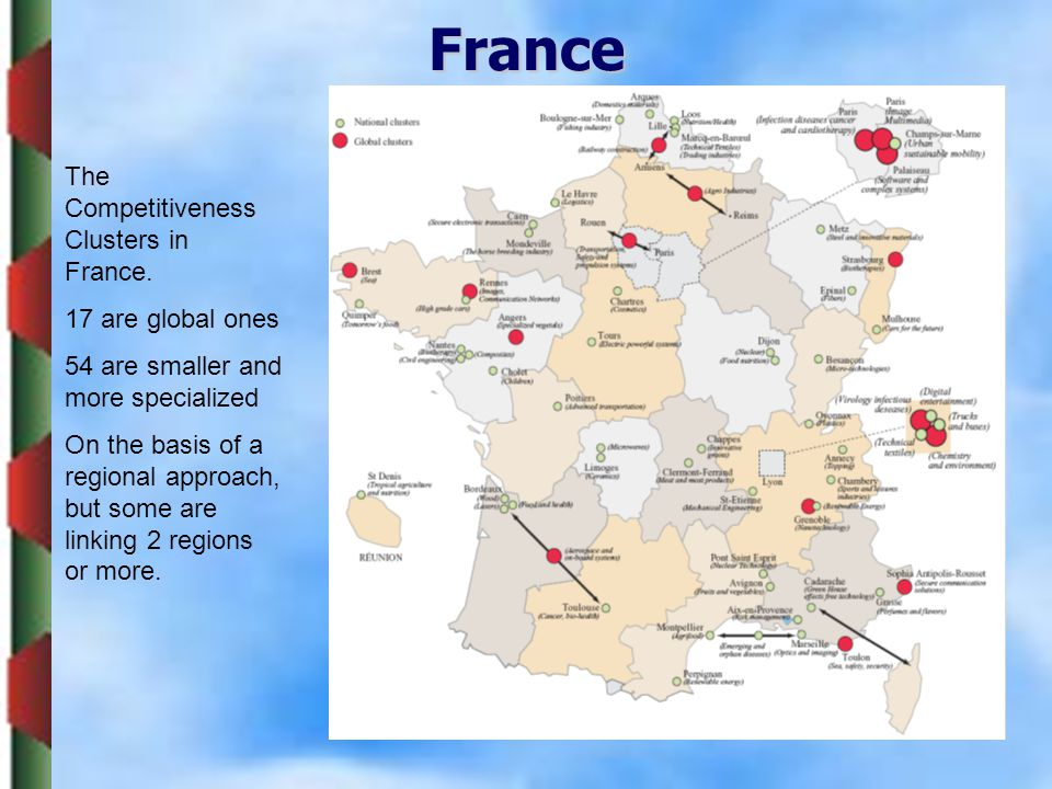 France The Competitiveness Clusters in France. 17 are global ones