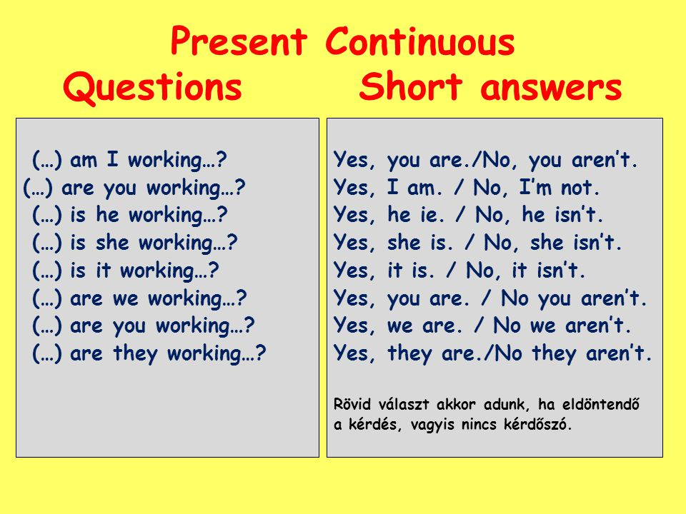 Present Continuous Questions Short answers