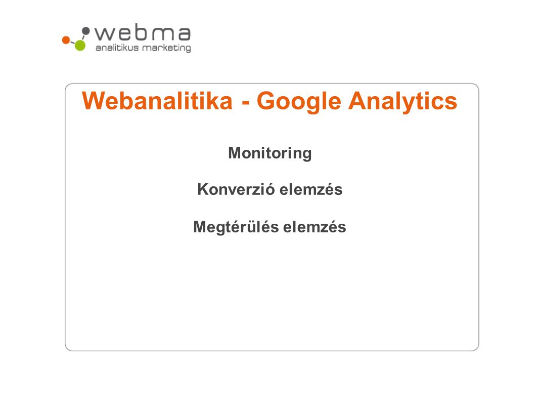 Webanalitika - Google Analytics Monitoring