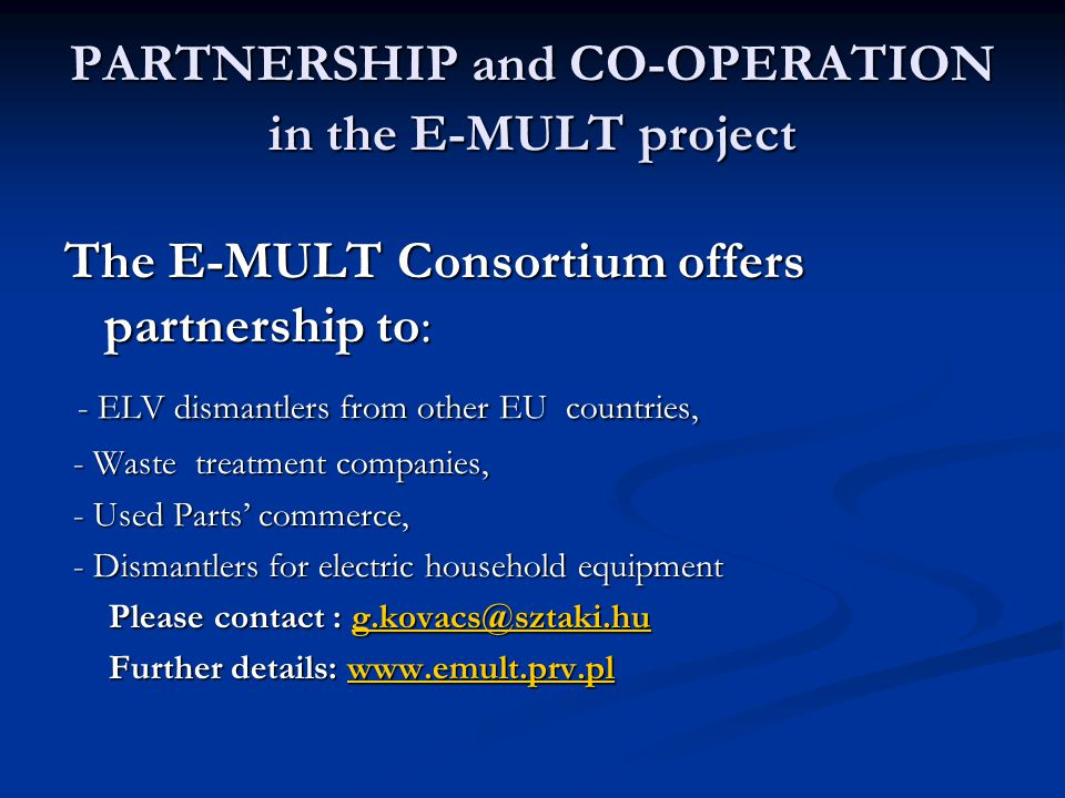 PARTNERSHIP and CO-OPERATION in the E-MULT project