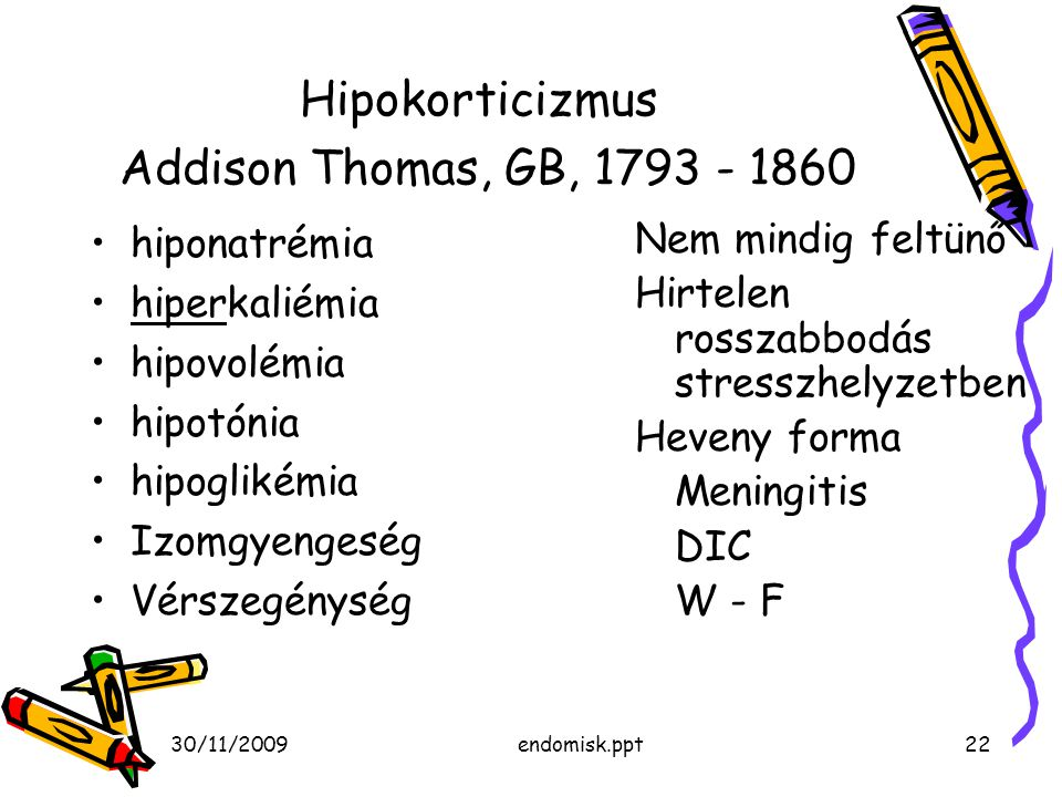 Hipokorticizmus Addison Thomas, GB,