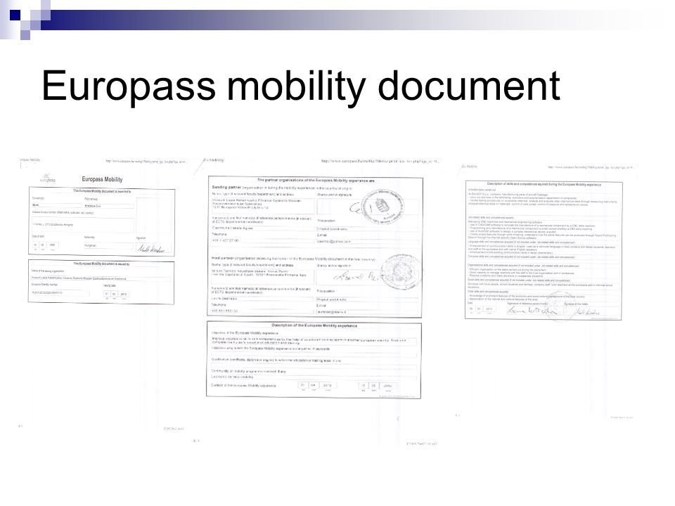 Europass mobility document