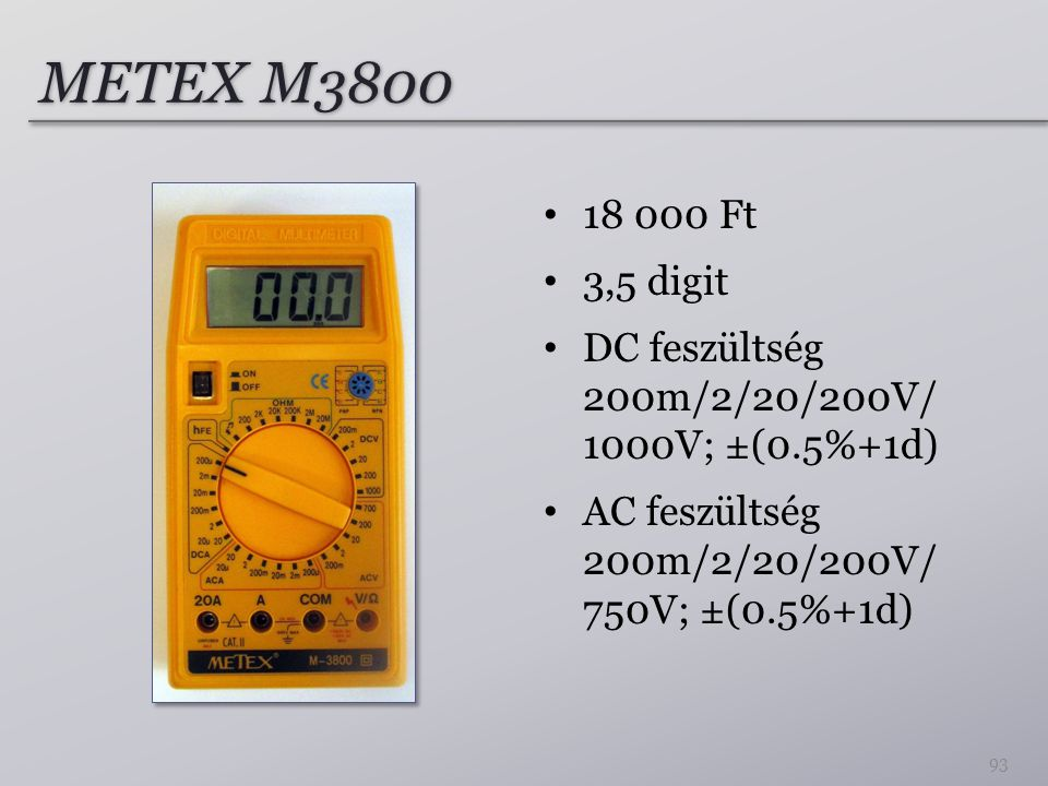METEX M Ft. 3,5 digit.