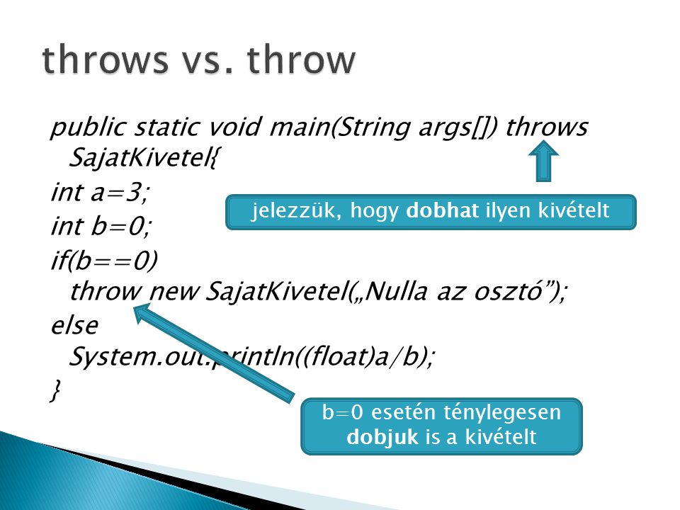 throws vs. throw