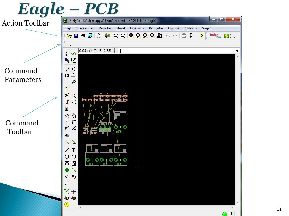 Eagle – PCB Action Toolbar Command Parameters Command Toolbar