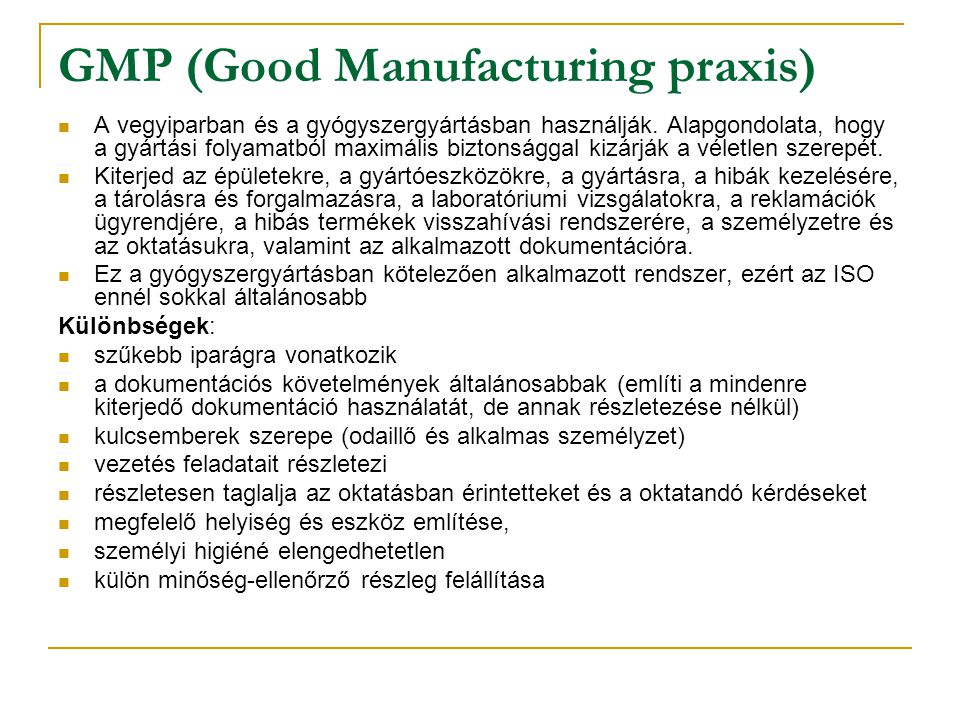 GMP (Good Manufacturing praxis)
