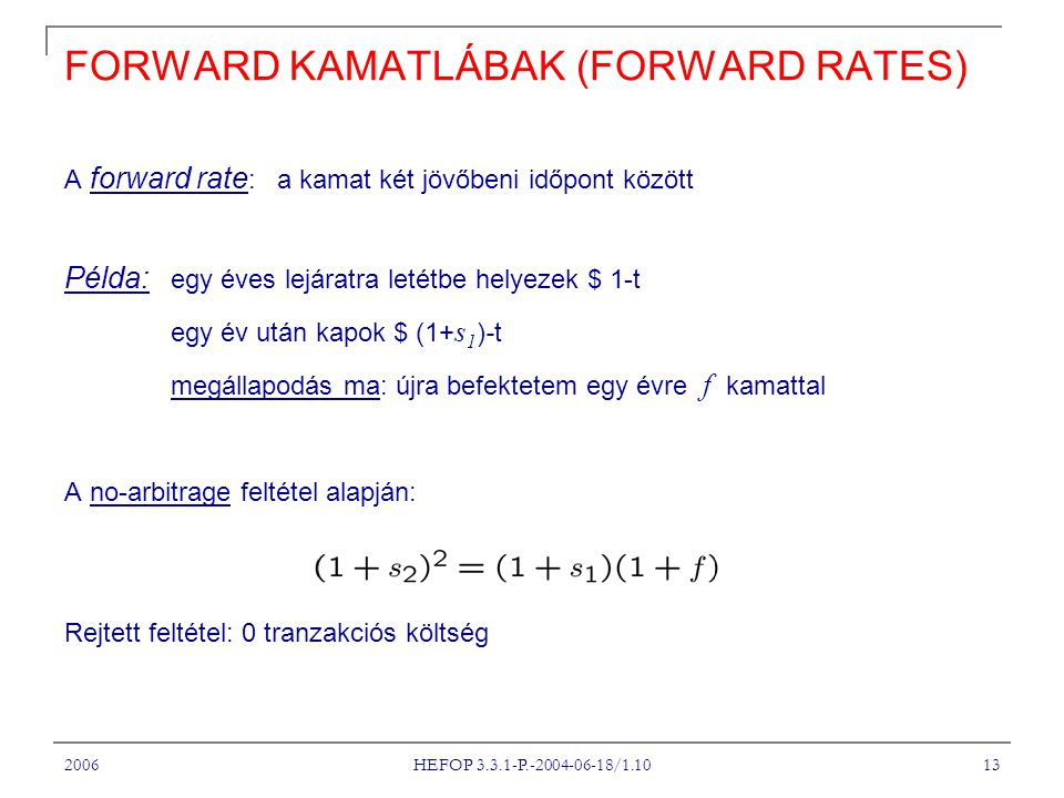FORWARD KAMATLÁBAK (FORWARD RATES)