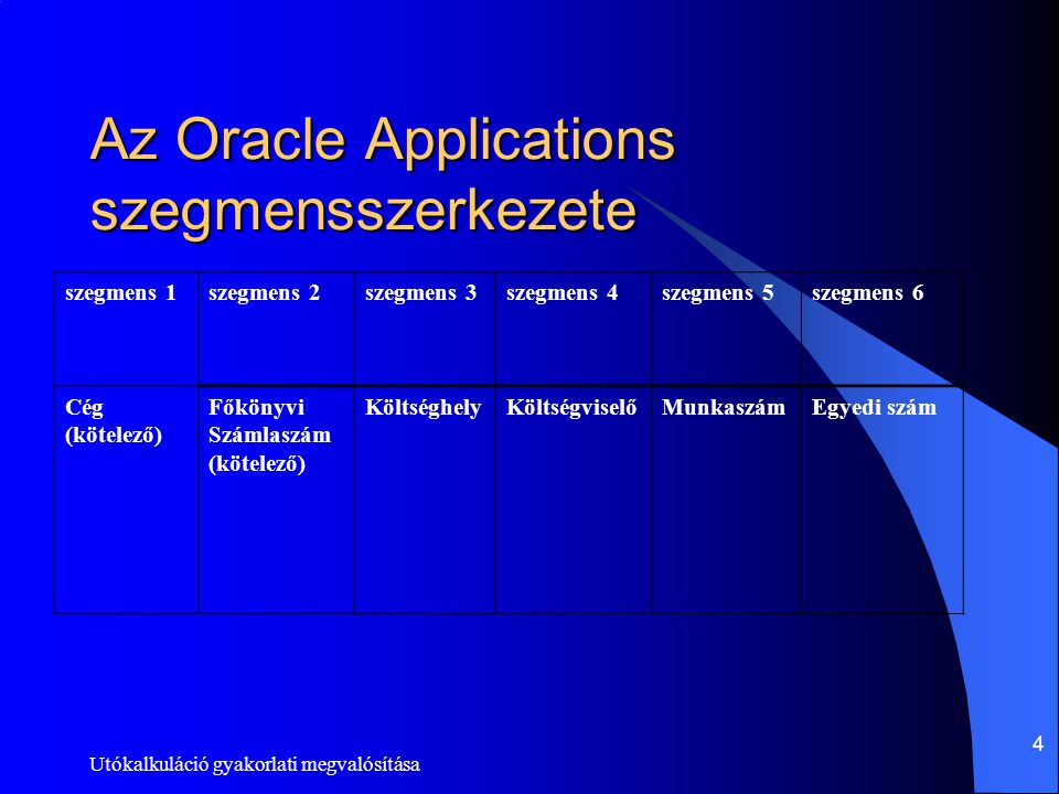 Az Oracle Applications szegmensszerkezete