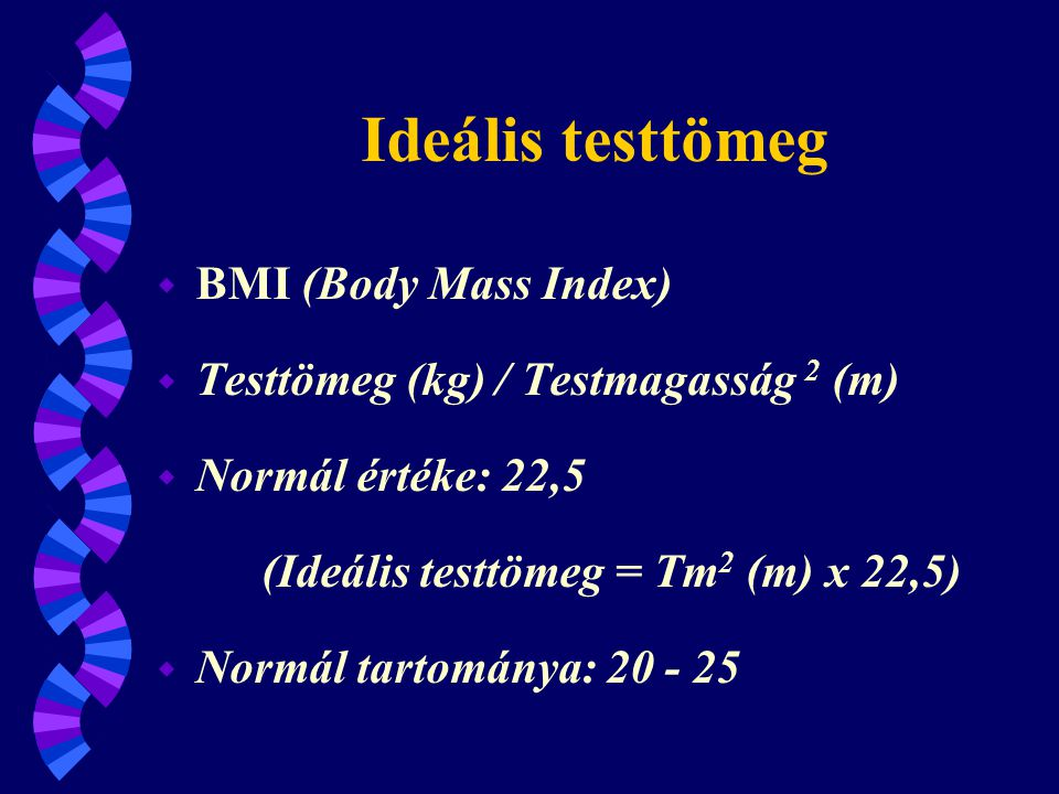 Ideális testtömeg BMI (Body Mass Index)