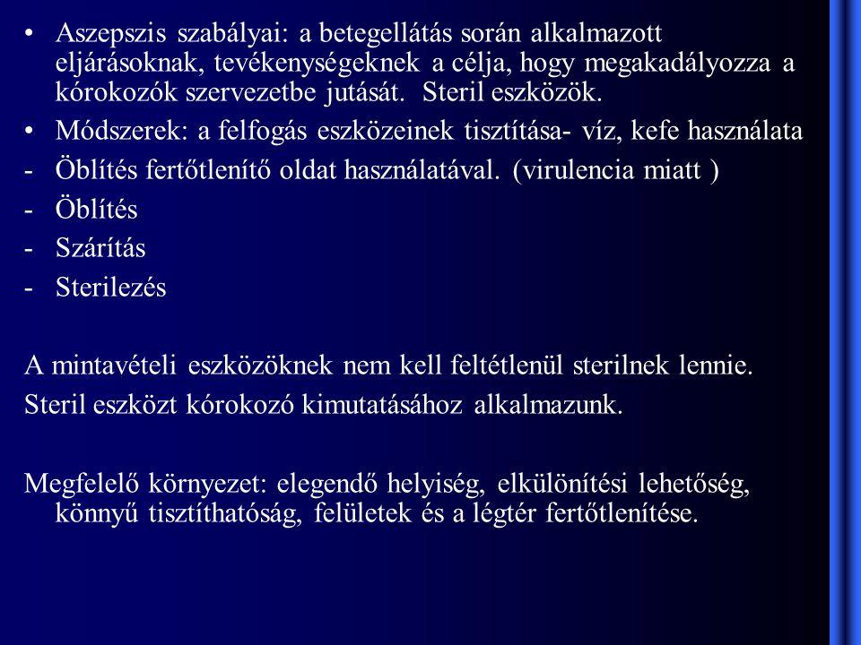 vizelet mintavétel eszközei szabályai)