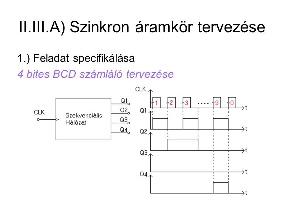Feladat specifikálása 4 bites BCD számláló tervezése. II.III.A) Szinkron  áramkör tervezése 9701aa559b