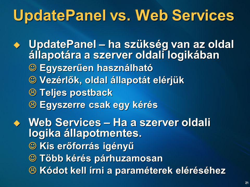 UpdatePanel vs. Web Services