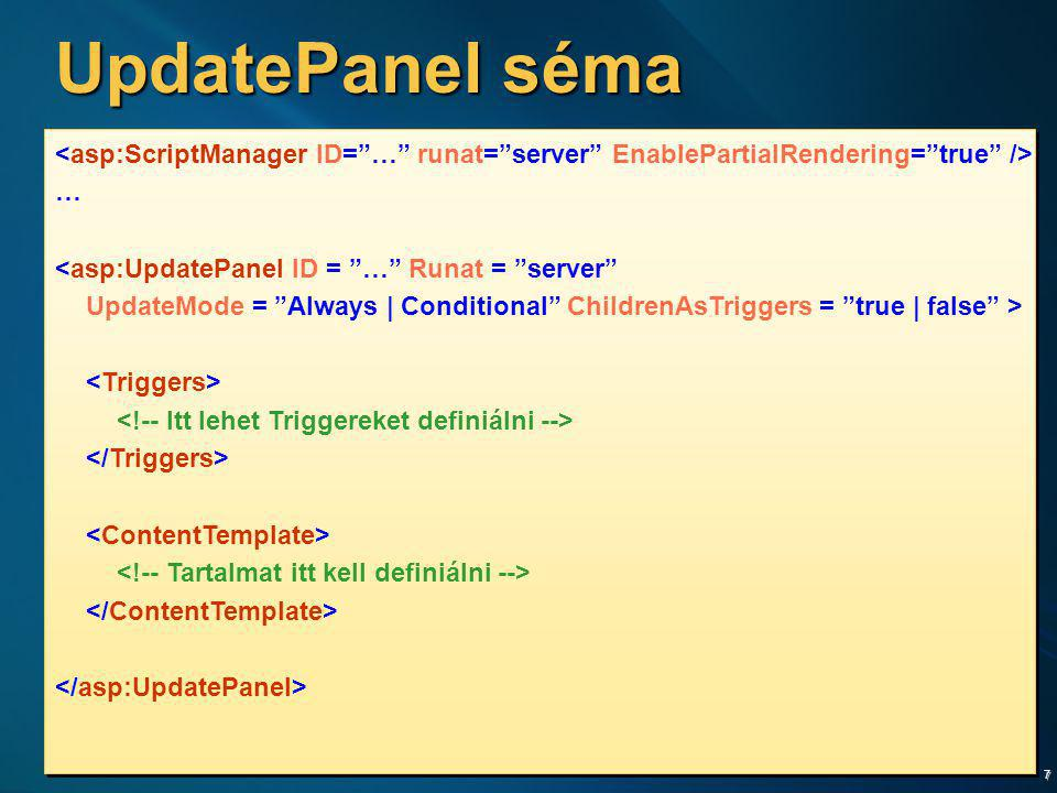 UpdatePanel séma <asp:ScriptManager ID= … runat= server EnablePartialRendering= true /> … <asp:UpdatePanel ID = … Runat = server