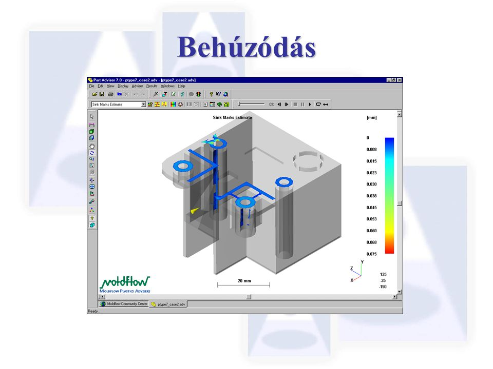 Behúzódás Sink marks are depressions formed on the surface of injection molded parts.